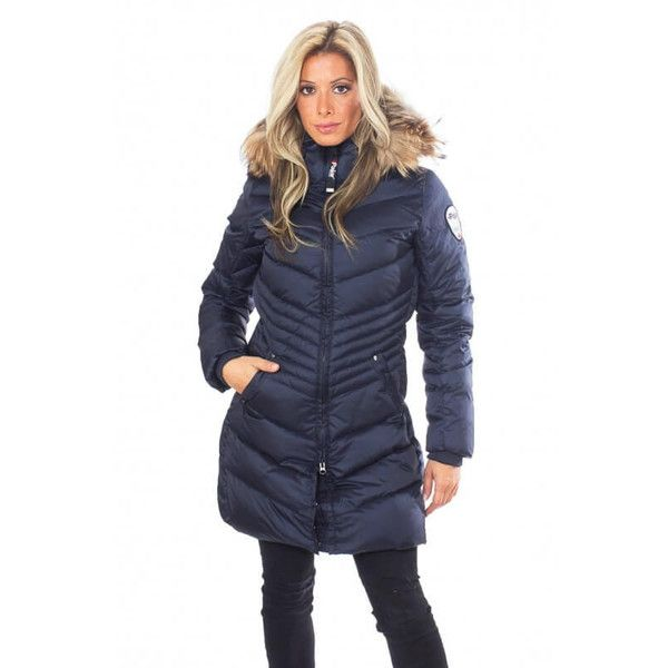 Pajar Brooklyn Jacket in Navy (514 CAD) ❤ liked on Polyvore featuring outerwear, jackets, winter coats, navy blue parka, lined parka jacket, navy parka, fur trim jacket and fur trimmed parka