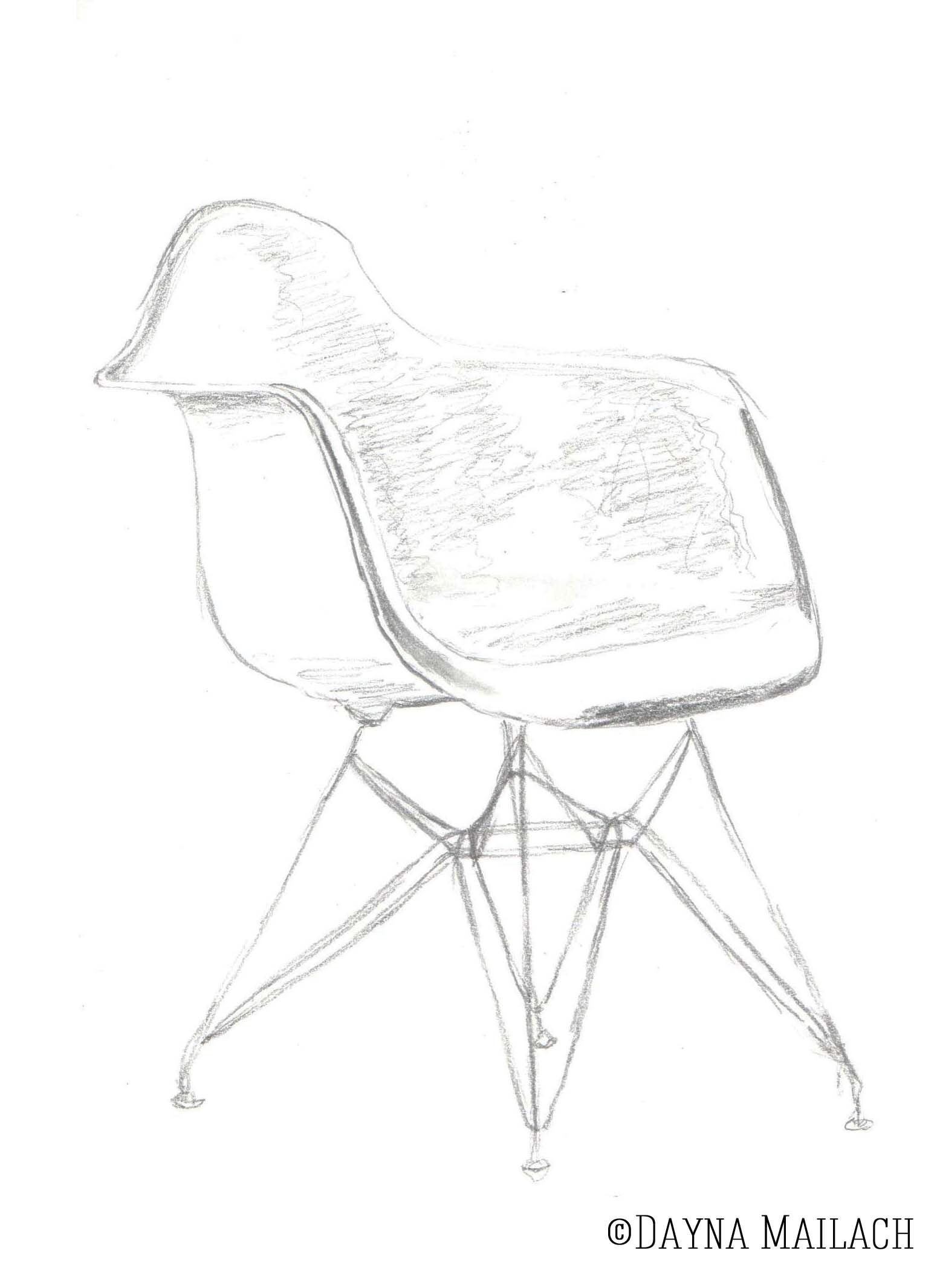 Eames Chair Drawing Draw Eames Chair Google Search Sketches Etc Drawing