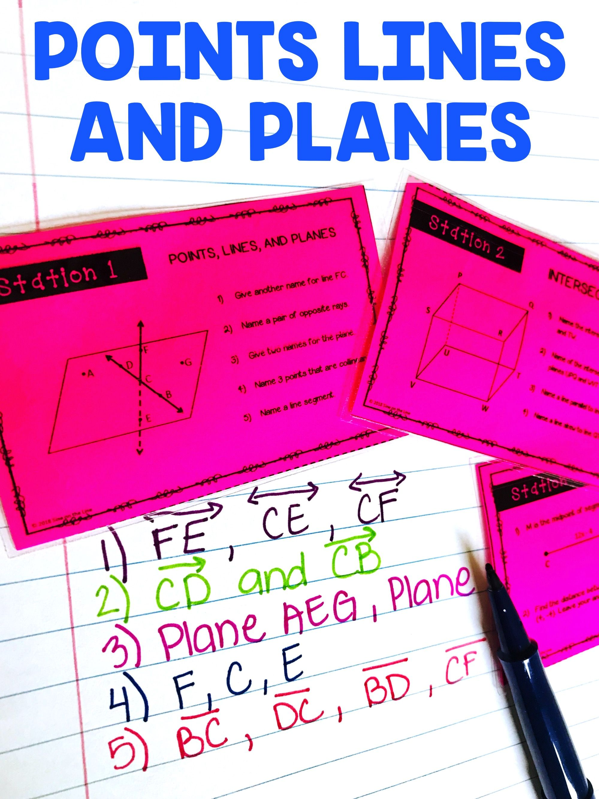 Geometry Basics Stations Activity Points Lines and