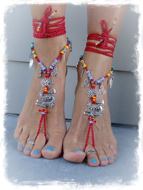 Fierce DRAGON BAREFOOT sandals RED Anklets crochet Gypsy by GPyoga