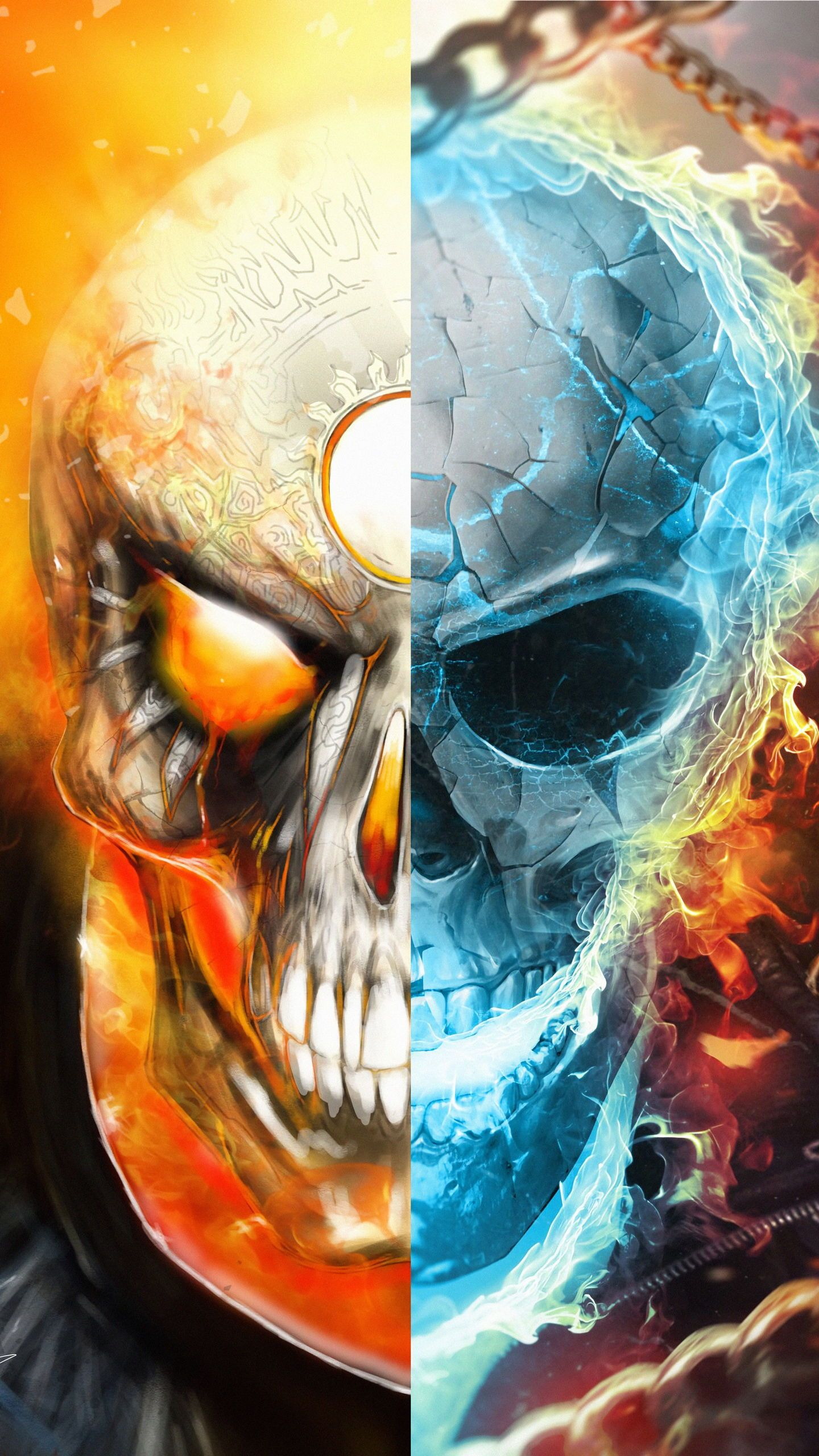 Download HD Fanart Captain America, Skull Ghost rider