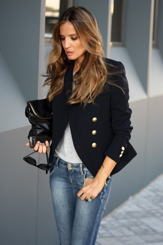 EK Black blazer paired with jeans is a great day to night outfit. The style of this blazer is ...