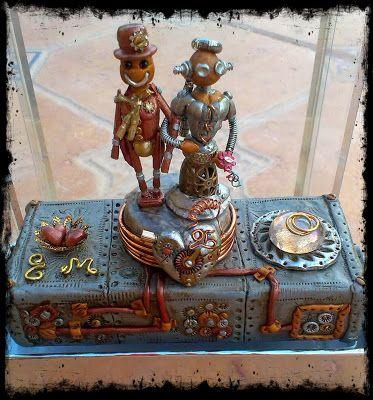 Novios steampunk. Recuerdo bodas de plata.