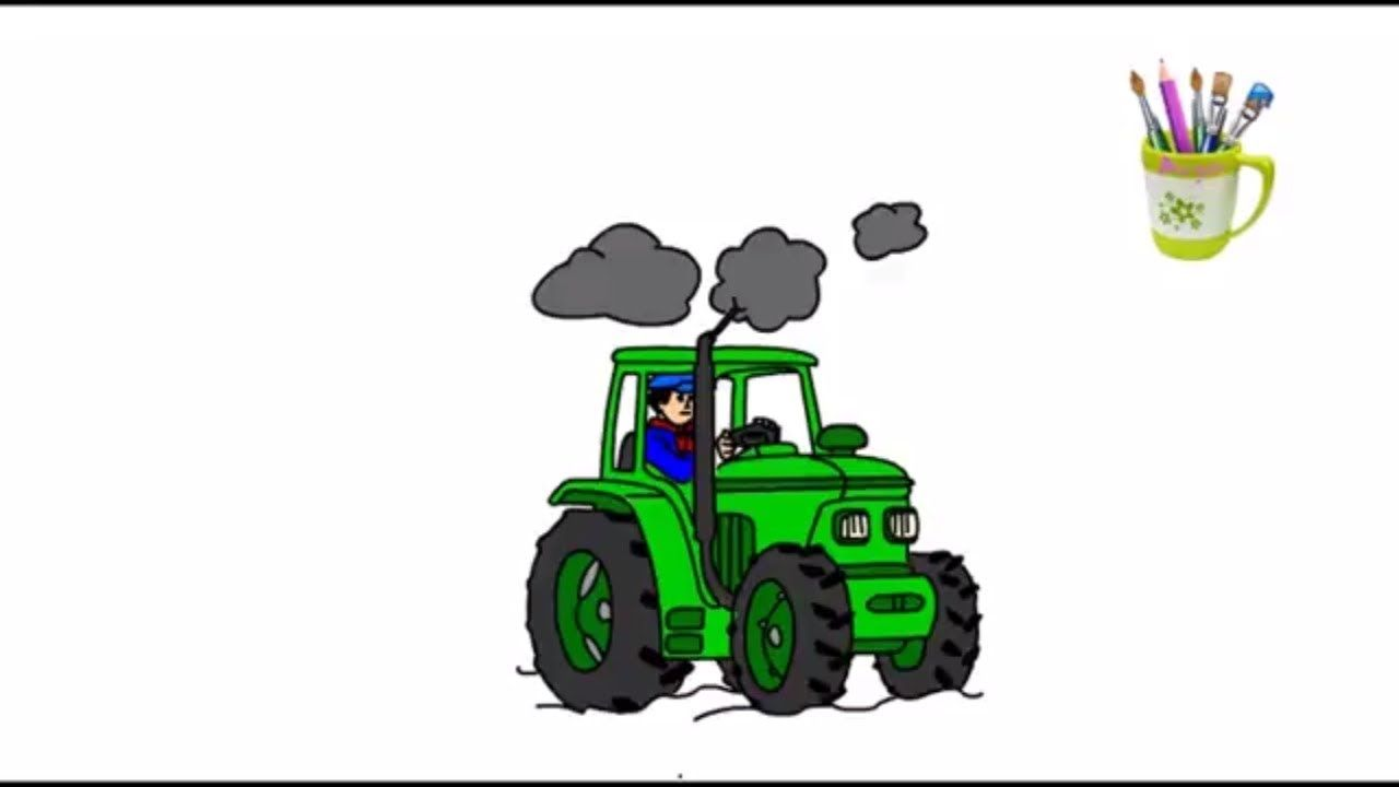 how to draw and the color of the tractor - Learn colors for kids ...