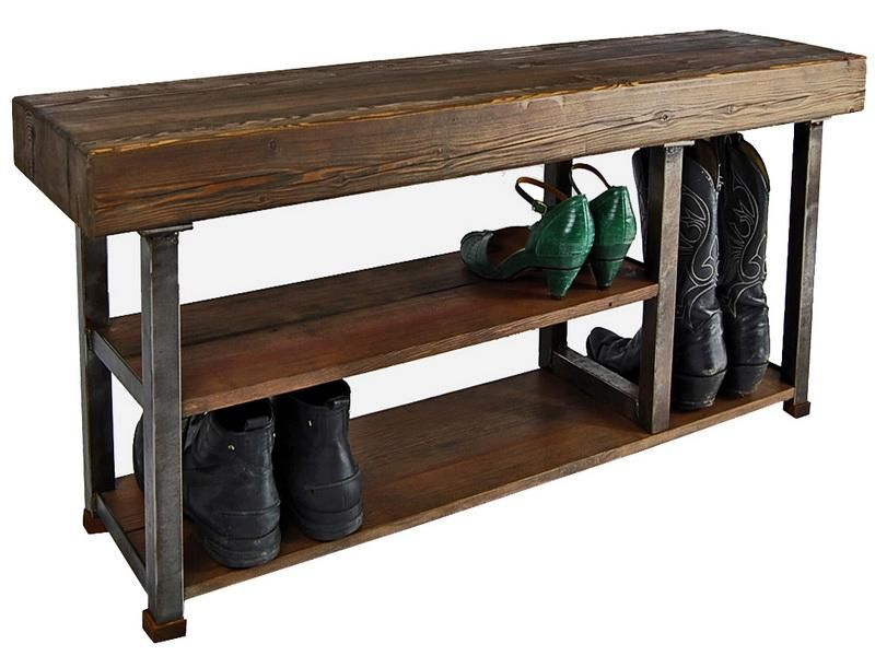 Furniture Vintage Walnut Wooden Bench Seat With Shoe Storae And Iron Legs Ideas 55 Recommended Entryway Storage Design