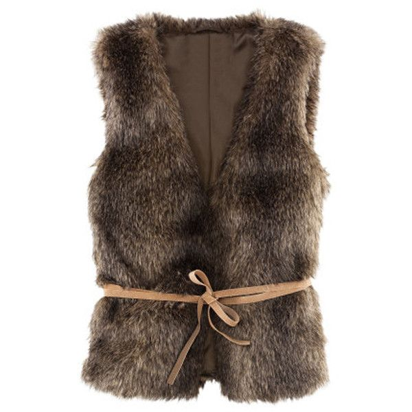 Faux Fur  Vest  Brown Belted (555 ARS) ❤ liked on Polyvore featuring outerwear, vests, jackets, belted faux fur vest, belted vest, brown faux fur vest, vest waistcoat and fake fur vest