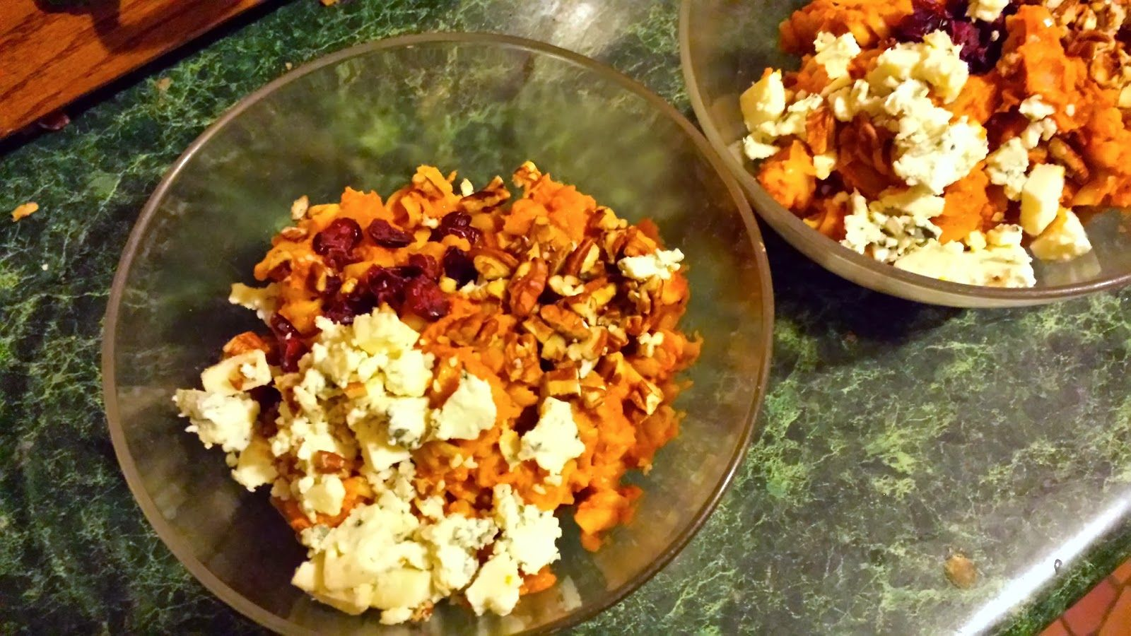 Pasta with Pumpkin and Cheese and More! Goat cheese, blue cheese, dried cranberries, and chopped pecans.