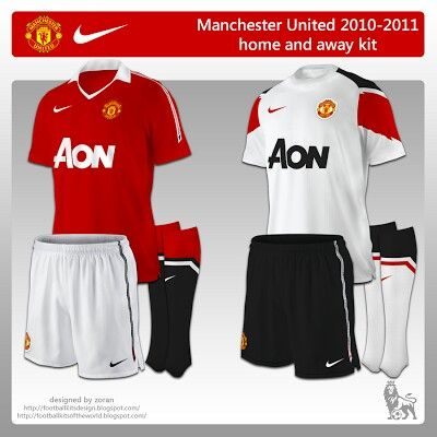 15440c543 Man Utd home and away kits for 2010-11.