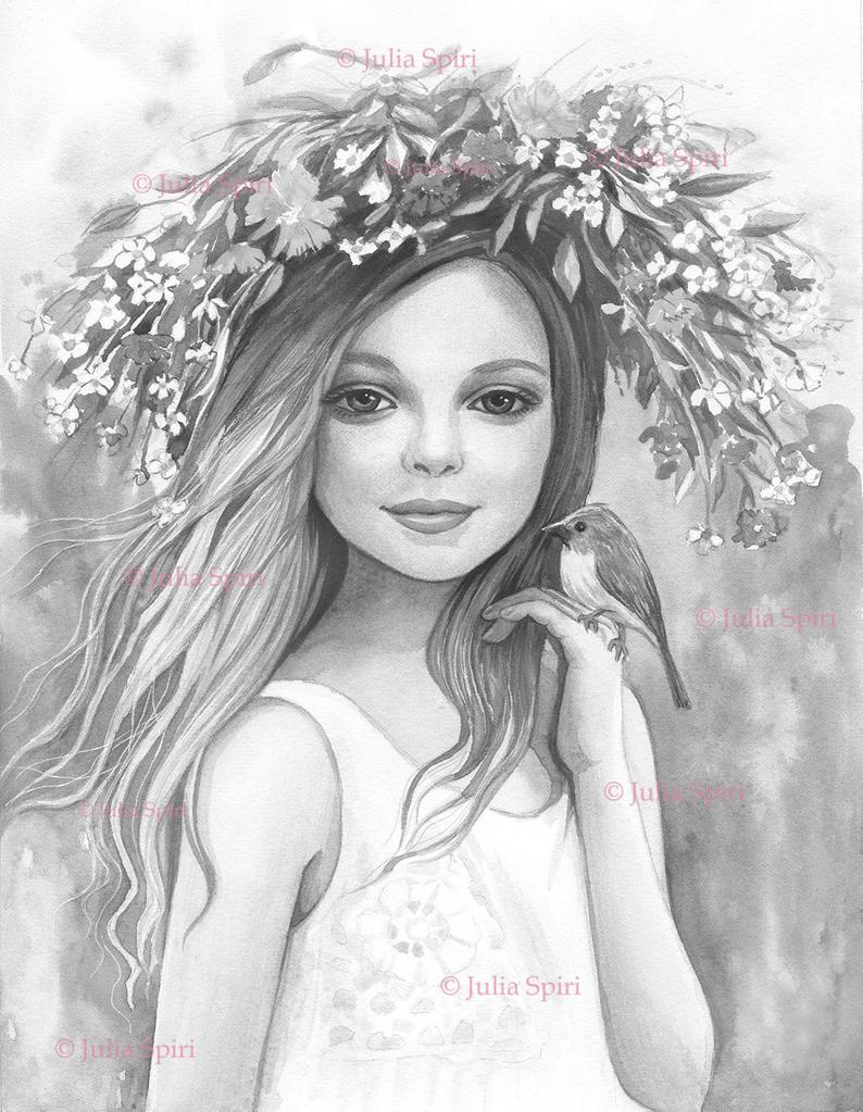 Grayscale Coloring Page Digital Stamp Digi Girl Hair Etsy Grayscale Coloring Coloring Pages Grayscale [ 1023 x 794 Pixel ]