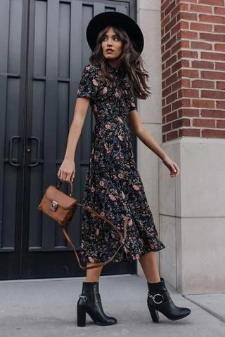 Patterned Shirt Dress - Black/floral - Ladies | H&M US