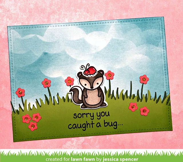 A Cute GetWell Card by Jessica (the Lawn Fawn blog) is part of lawn Fawn On The Mend - Jessica is back today to share a whimsical get well card! This may be a popular card category with all the  bugs  floating around this winter  This card is sure to bring a smile to a friend whose not