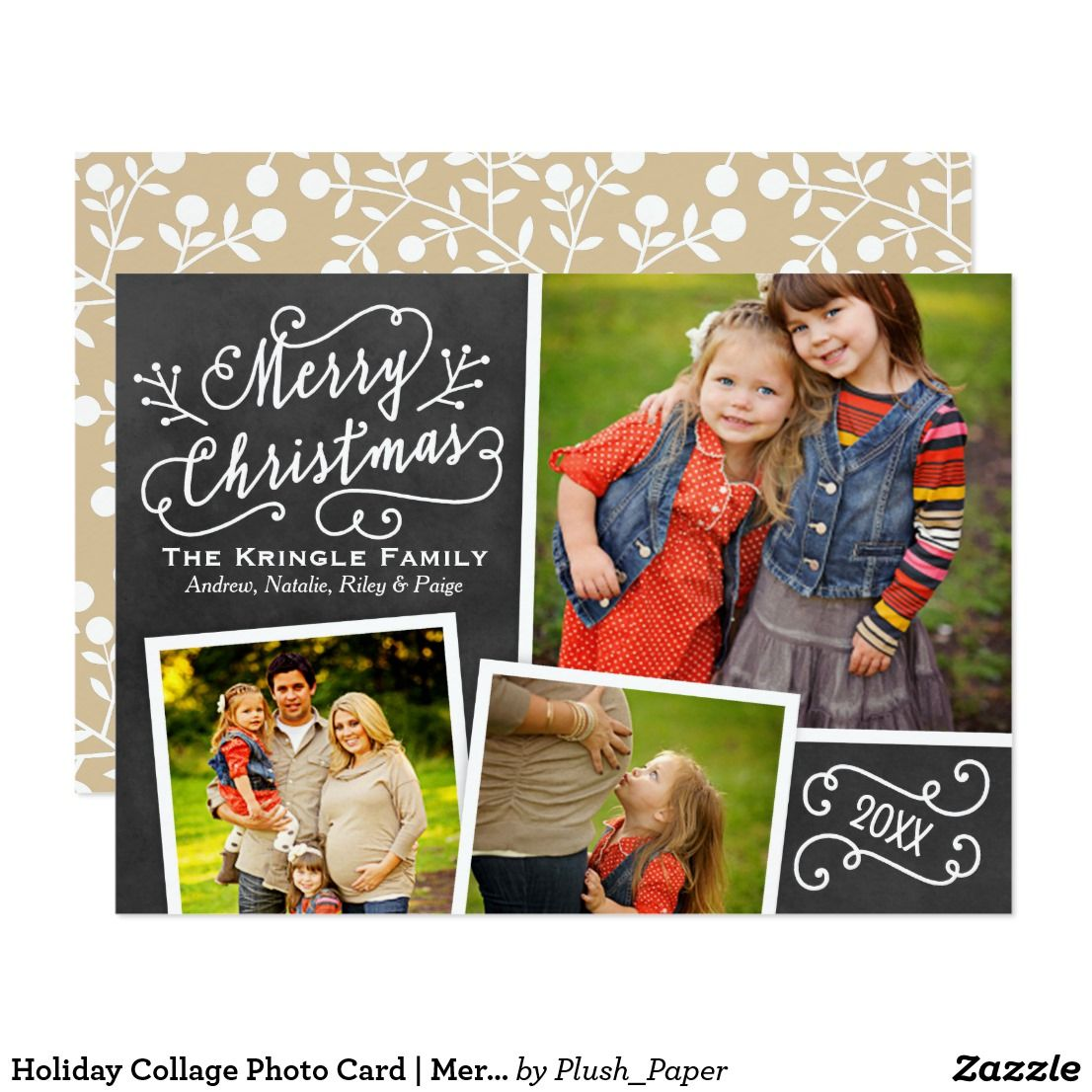 Holiday Collage Photo Card Merry Christmas Stylish Merry Christmas Photo Card Photo Collage Christmas Card Merry Christmas Card Photo Christmas Chalkboard