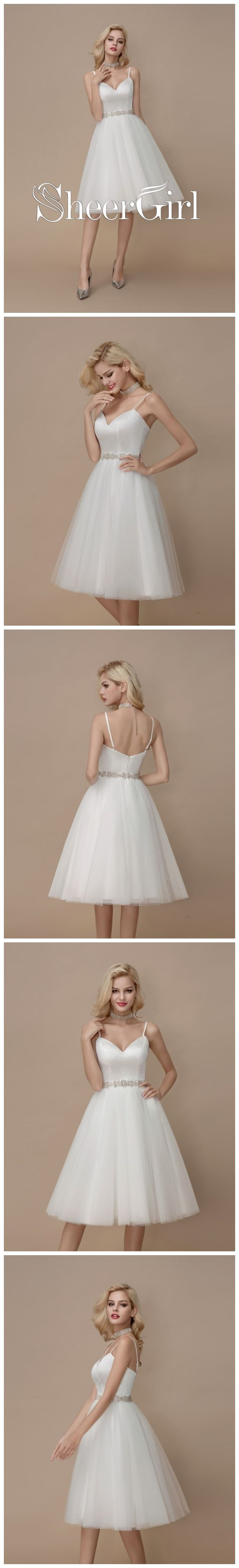 Knee length vintage wedding dresses  Knee Length Casual Wedding Dresses Beaded Short Summer Wedding