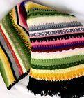 Handmade knit rainbow stripe afghan blanket boho bohemian chic 51 x 58 Handmade knit rainbow stripe afghan blanket boho bohemian chic 51 x 58 Handmade knit rainbow stripe...