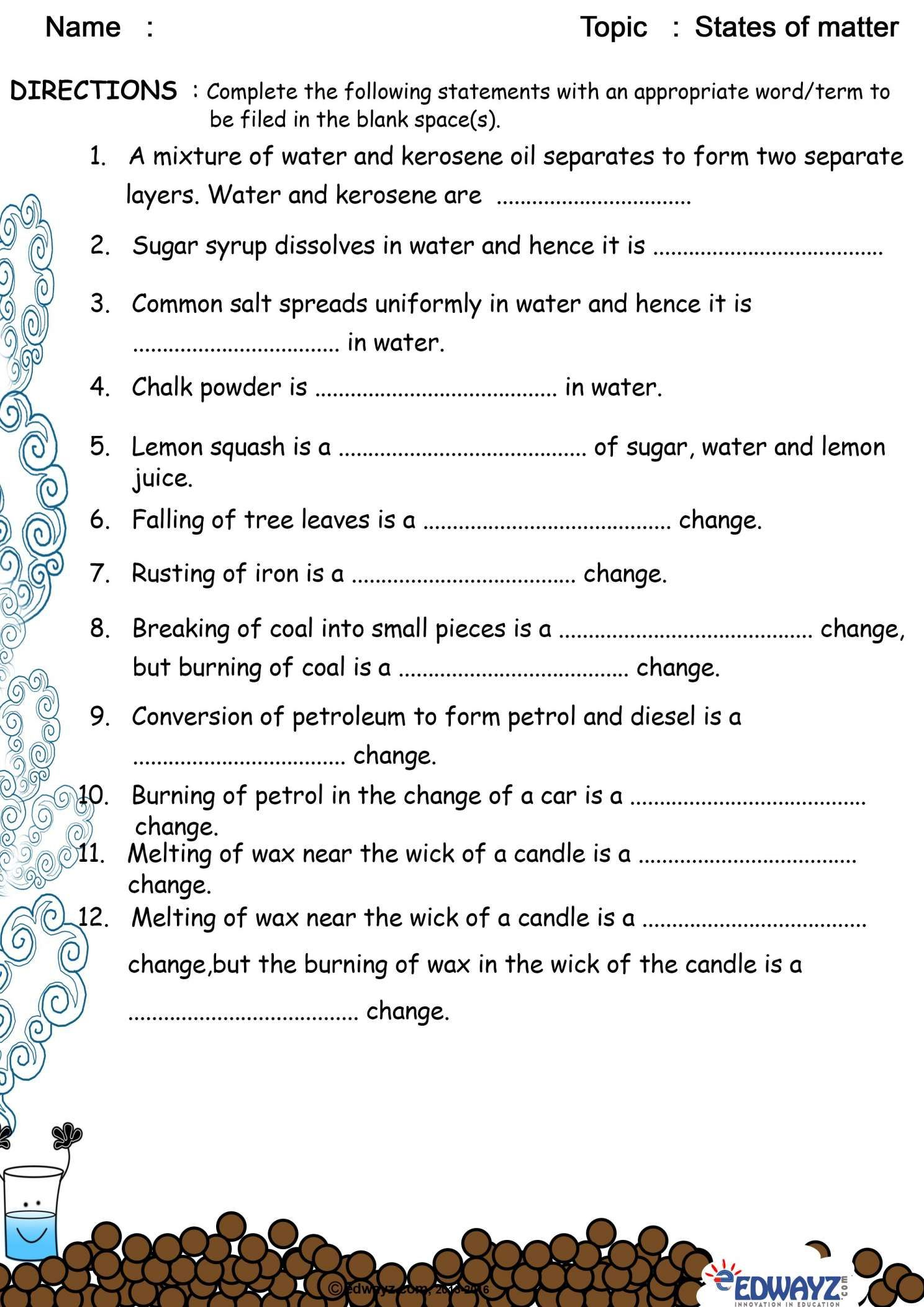 10 2nd Grade Solid Liquid Gas Worksheet