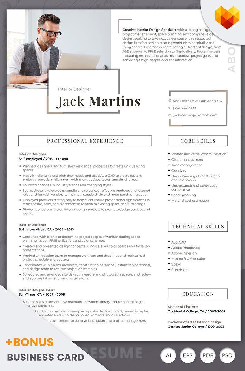 Office 2007 Resume Template Jack Martins  Interior Designer Resume Template  Resume Templates .