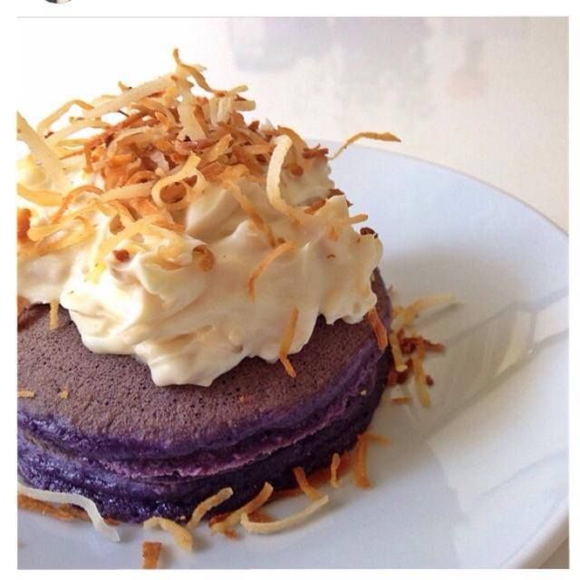 Ube Pancake Crowned With A Light Mascarpone And Toasted