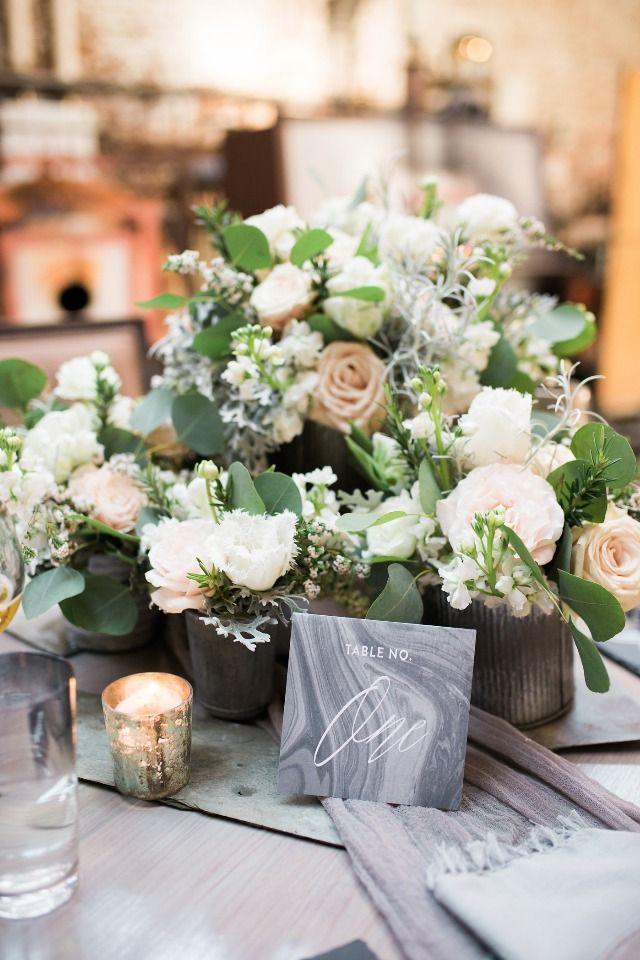 Romantic Industrial Aqua And Grey Wedding Ideas Wedding Flower Arrangements Place Card Table Wedding Wedding Flowers