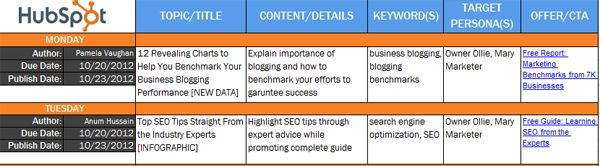 Sample Editorial Calendars  A Great Place To Start  Content