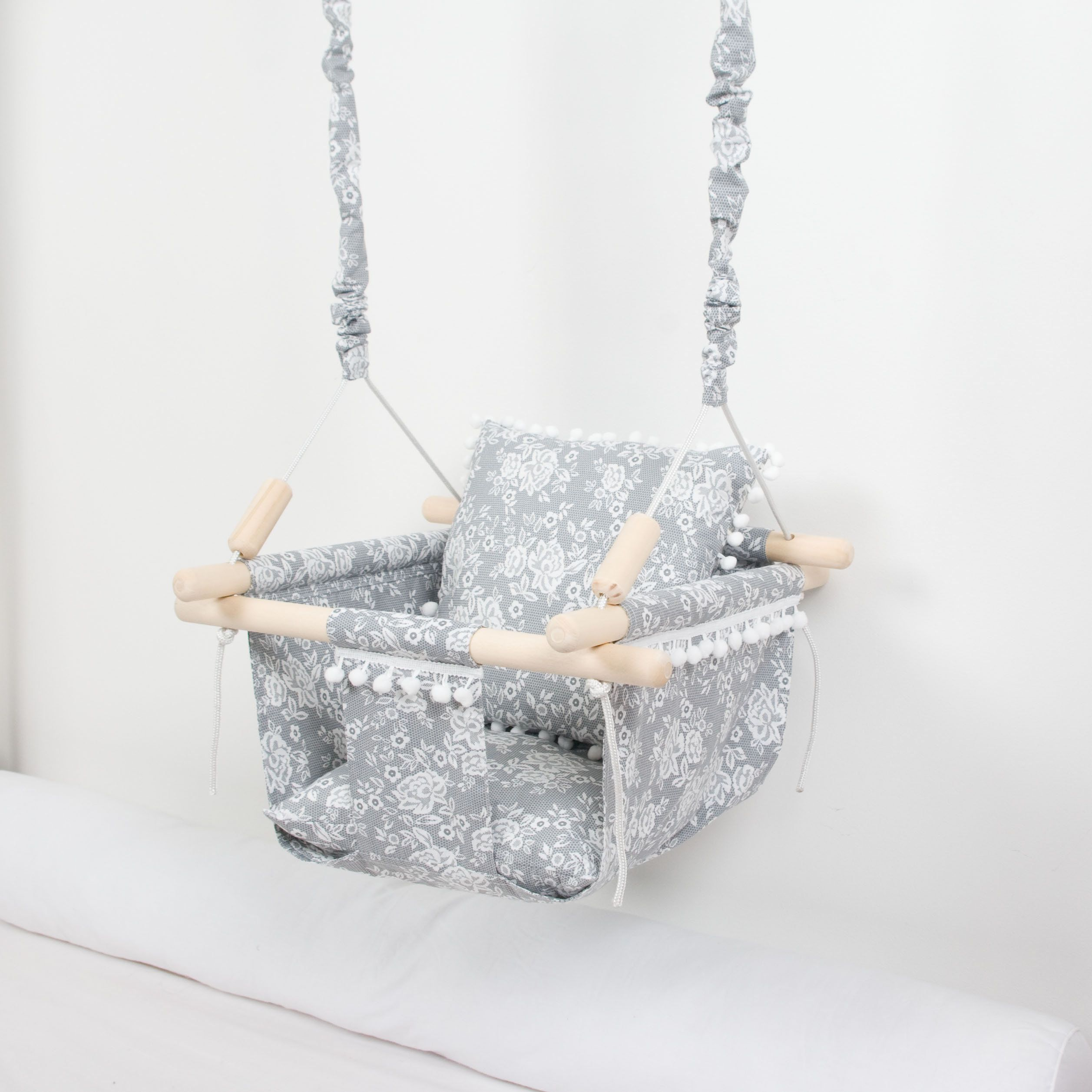 hammock baby swing indoor swing baby shower gift Baby or toddler swing fabric swing swing chair cotton fabric swing wood wooden