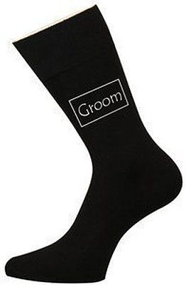 Groom Luxury Black Cotton Wedding Socks Favour Gift Size 6 - 12