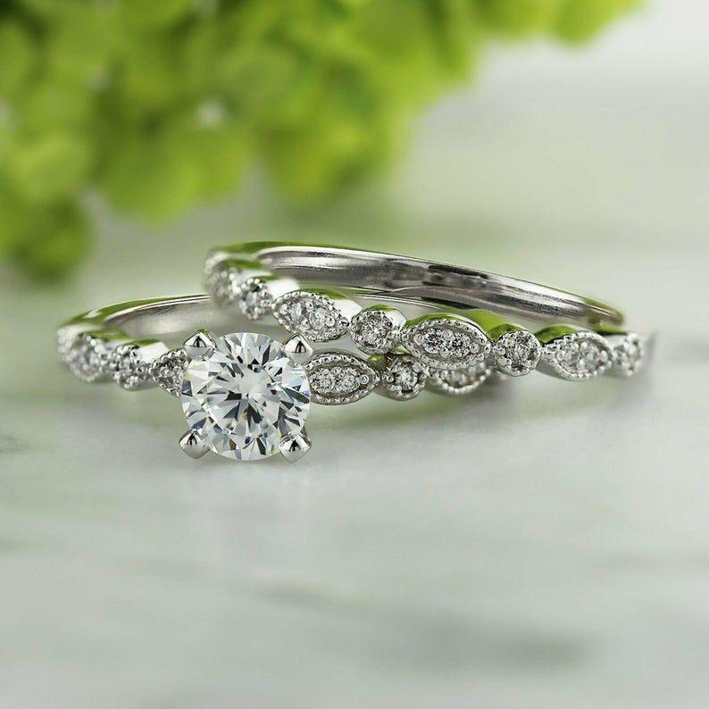 Bridal Set Moissanite Engagement Ring Simulated Diamond Etsy In 2020 Engagement Wedding Ring Sets Diamond Engagement Ring Set Wedding Rings Engagement