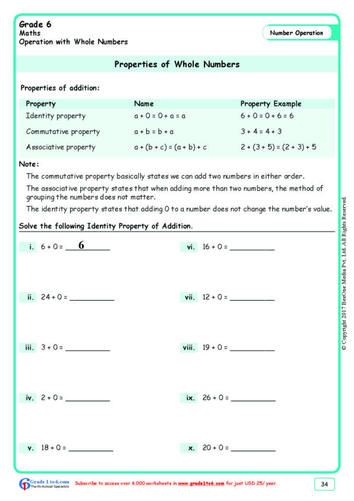 Worksheet Grade 6 Math Properties Of Whole Numbers In
