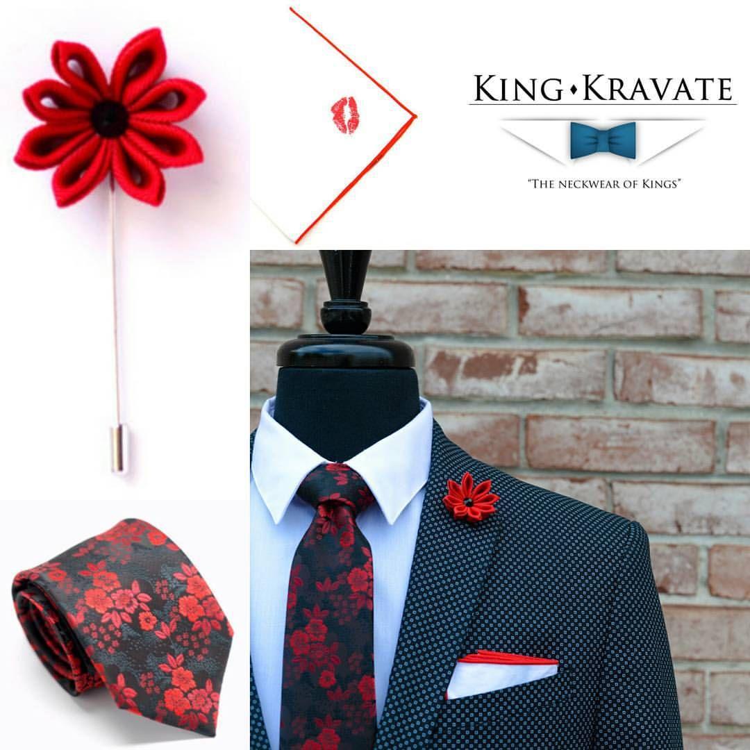 Sriracha Necktie  Red Wolfgang Lapel Flower  Red Lipstick Smooch Pocket Square  WWW.KINGKRAVATE.COM ________________ #mensfashion #menswear #menstyle #mensapparel #mensclothing #fashion #style #GQ #dapper #bespoke #fashionoftheday #fashionlover #fashionkiller #fashionweek #instafashion #fashionblogger #styleblogger #picoftheday #gqstylehunt #gqinsider #stylish #details #stylist #luxury #lifestyle #suit #suitup #Buffalo #buffalony #kingkravate