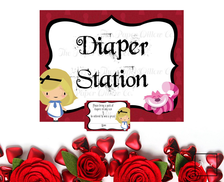 alice in wonderland baby diaper raffle tickets and diaper station alice in wonderland baby diaper raffle tickets and diaper station sign diy printable