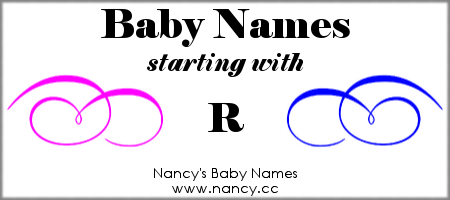 Girl baby name on r