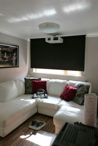 Our Home Cinema Epson 3lcd Projector White Leather Corner Sofa Blackout Blind Walnut Flooring