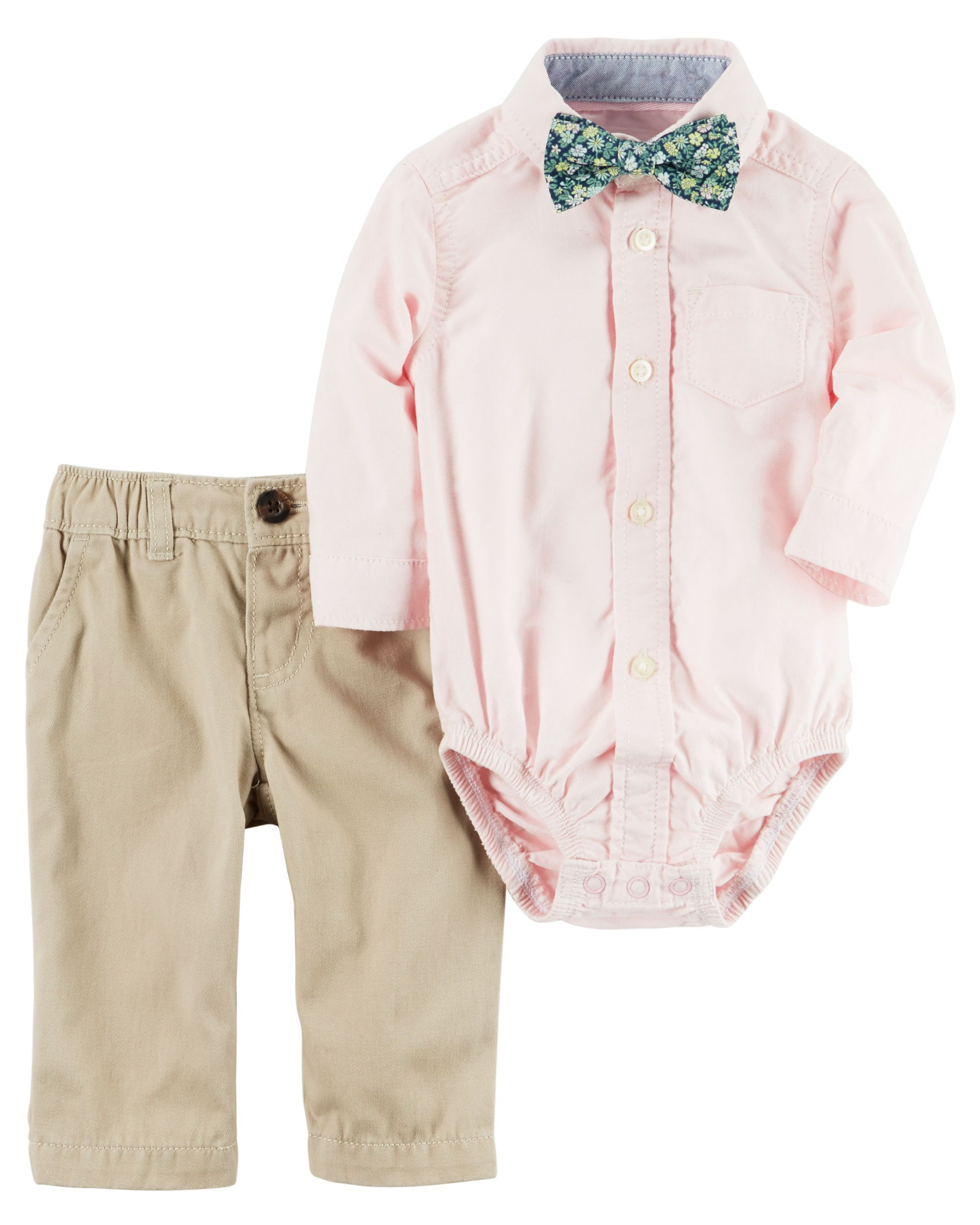 d465be431 Baby Boy 3-Piece Dress Me Up Set Featuring a crisp oxford bodysuit and  easy-on twill pants, he's ready for the Easter Bunny! A bow tie completes  this ...