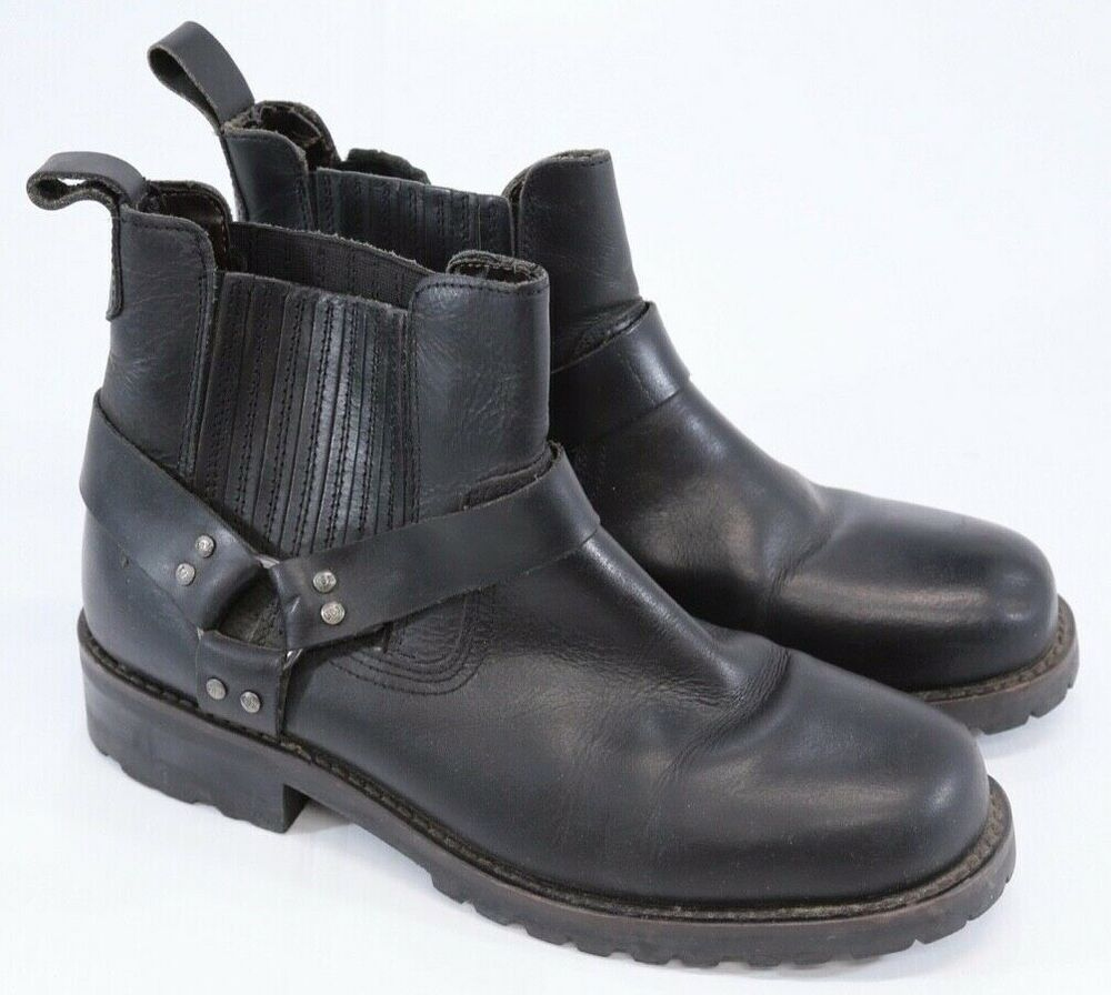 Hot Mens Leather Riding Ankle Boots Strapped Pull-on Casual desert Motorcycle ##