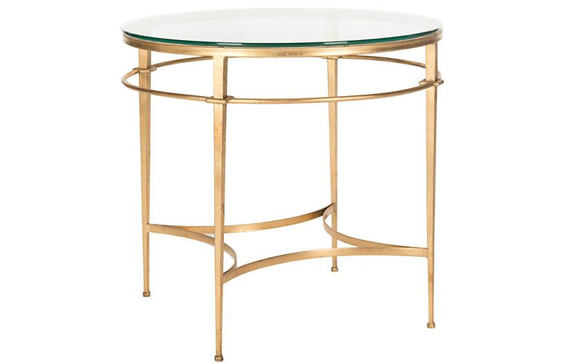 Ingrid Side Table Gold Living Room Side Table Glass Top End Tables Side Table