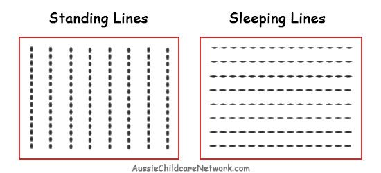 Prewriting skills Standing Sleeping Lines.jpg | Preschool learning ...