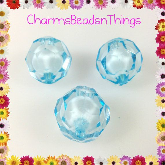 10 pcs 20mm Light Blue Transparent Acrylic by CharmsBeadsnThings, $2.00