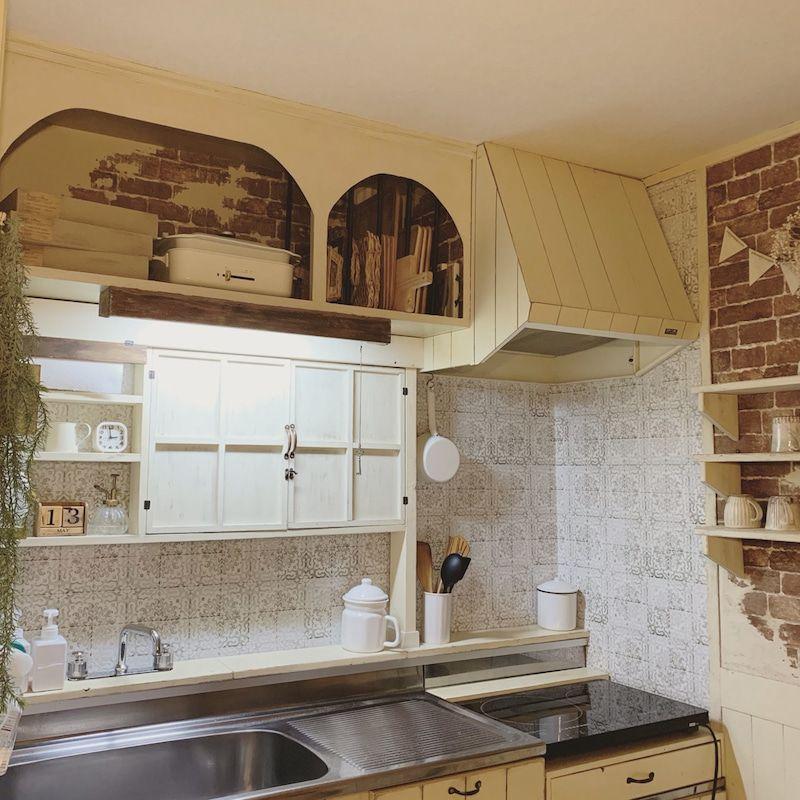 Diy キッチンのステンレス壁をアンティークタイル風に 札幌 Mon