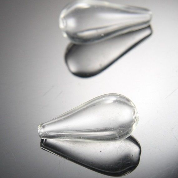 6pcs Hand Blown Hollow Glass Beads- Clear Two Hole Teardrop 14x30mm (17H6)