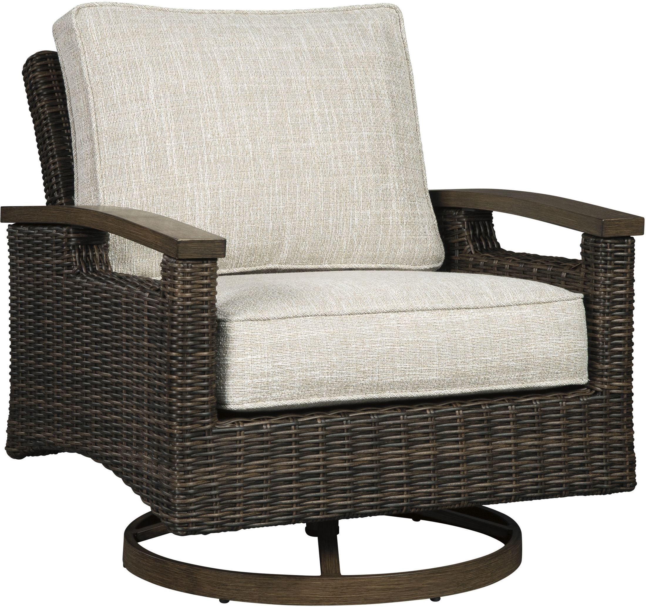Beachcroft Beige Outdoor Living Room Set With Cushion In 2020 Patio Lounge Chairs Contemporary Lounge Chair Brown Lounge