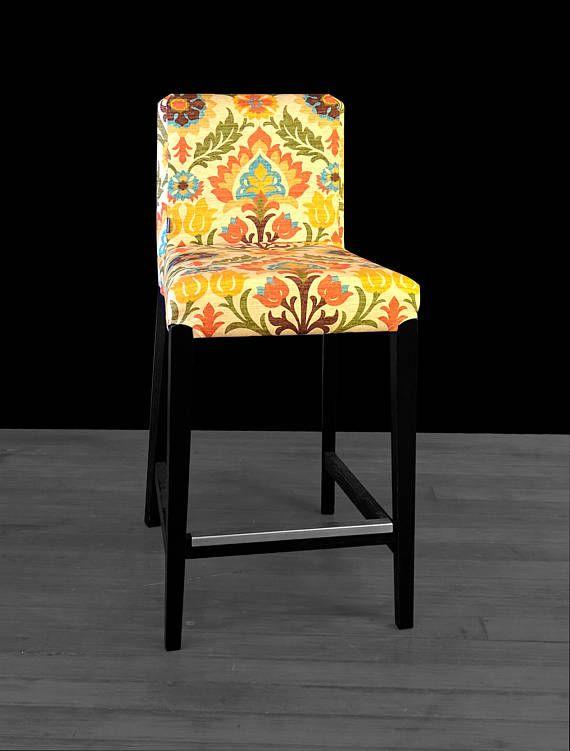 Ikea Orange Chair Covers Mini Electric Colorful Flowers Henriksdal Bar Stool Cover Beige Brown Santa Maria Adobe
