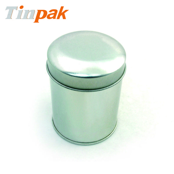 Aluminum domed lid tin storage container Curled out lid and bottom