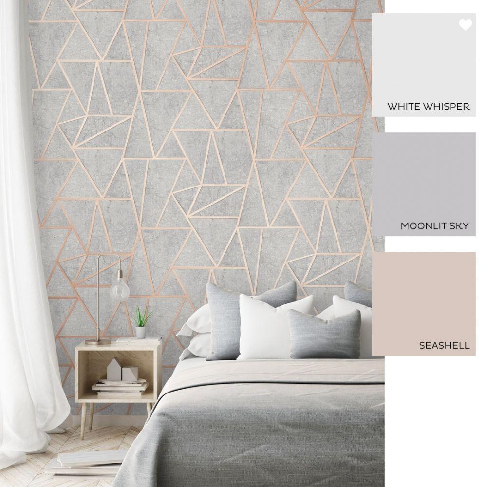 Metro Geometric Apex Wallpaper Grey Rose Gold Grey And Gold Bedroom Rose Gold Bedroom Wallpaper Bedroom Feature Wall
