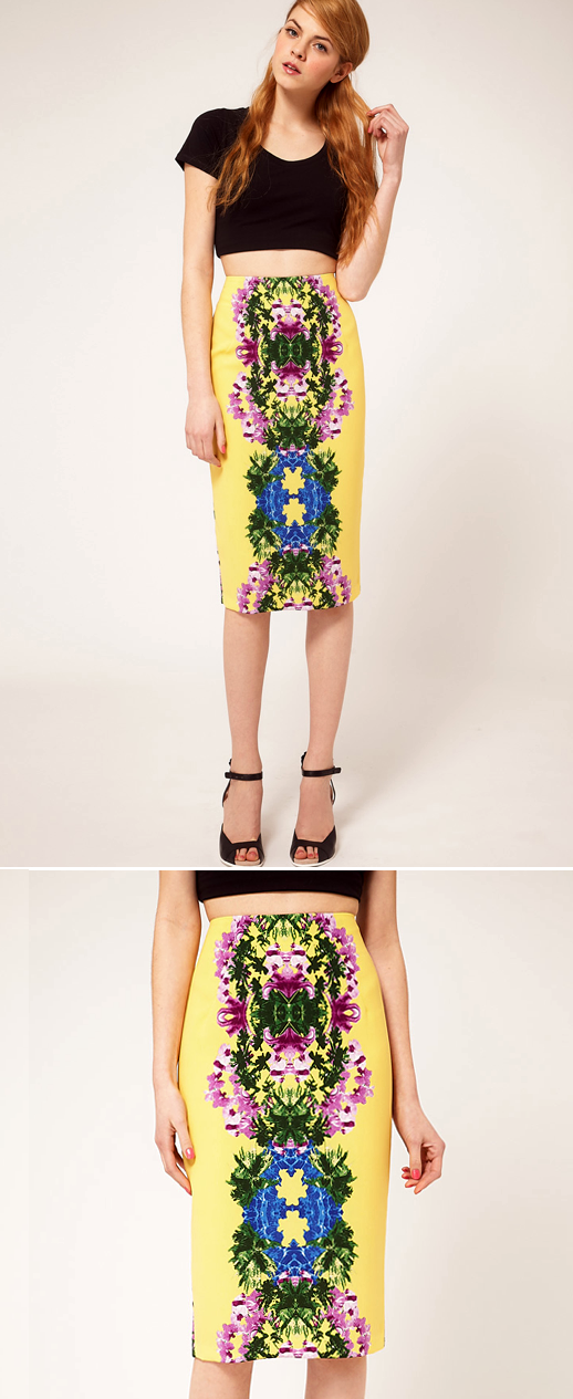 Printed Midi Pencil Skirt - Dress Ala