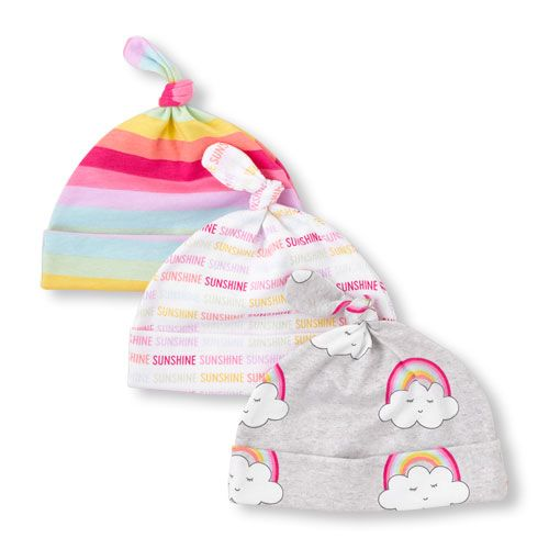 Baby Girls Rainbow Stripe Knotted Hat 3-Pack  7f5dec471ae