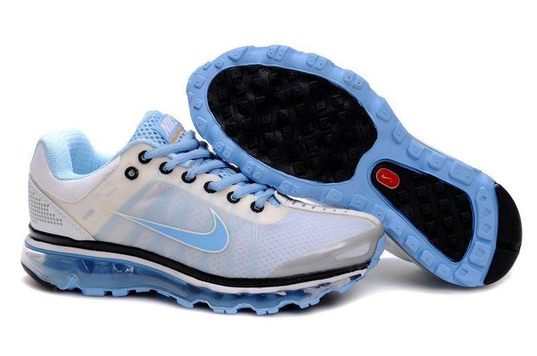 Cheap Nike Air Max 2009 White Light Blue Shoes for Women