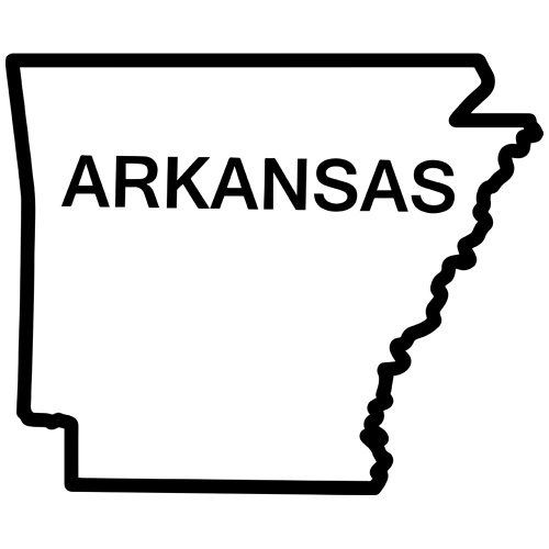 Arkansas state outline decal sticker available in 19 colors