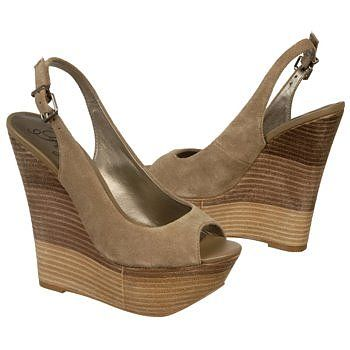 Get out and be seen in the chic taupe BONITA wedge sandals from Fergie.