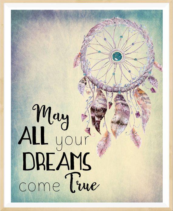 May All Your Dream Come True Dream Catcher Print Boho Dreamcatcher Custom Dream Catchers With Quotes