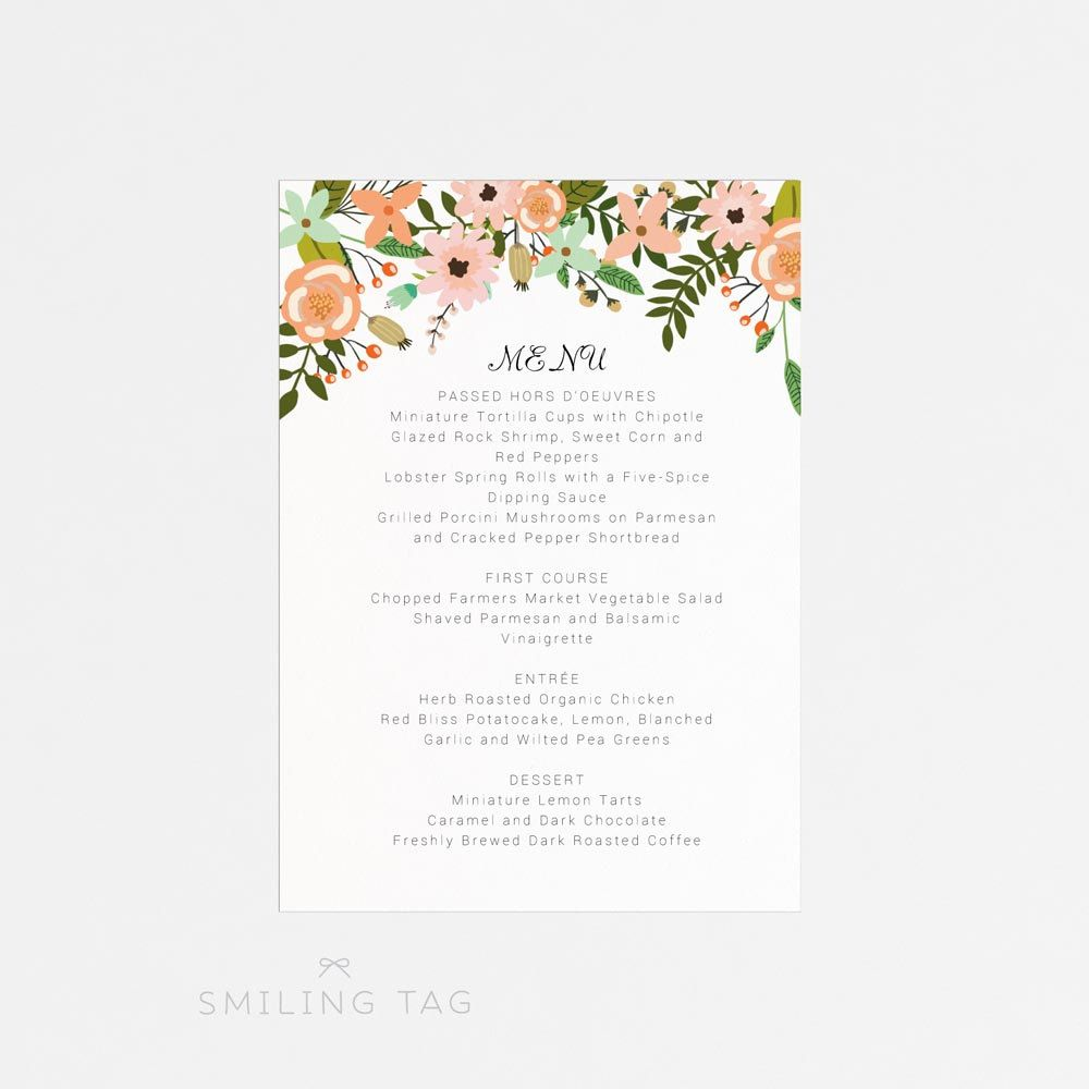 instant download printable wedding menu template peach orange foliage wedding editable word doc diy