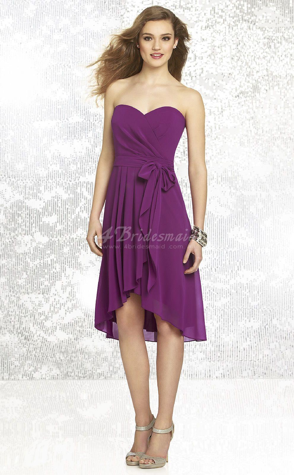 Purple Chiffon A-line Sweetheart Asymmetrical Bridesmaid Dresses ...